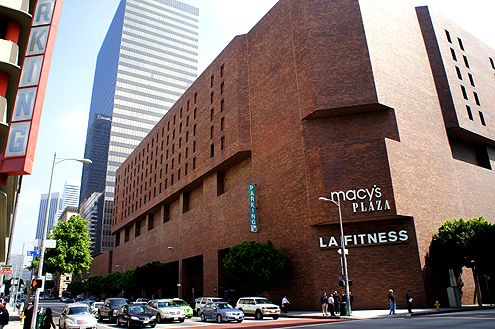 Macy's Plaza is a poorly designed shopping center in Downtown LA that is not only visually deleterious, but impedes pedestrian connections between South Park and the Financial District, impeding Downtown LA's growth potential