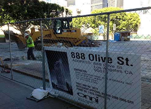 Groundbreaking begins today on Onni Group's new 32-story apartment tower at 9th and Olive in Downtown LA (Photo: Ryan Lehman)