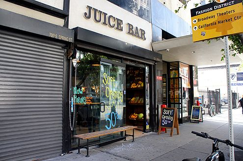 Juice Crafters, with locations in Brentwood and Pacific Palisades, is now open at 7th and Spring in Downtown LA