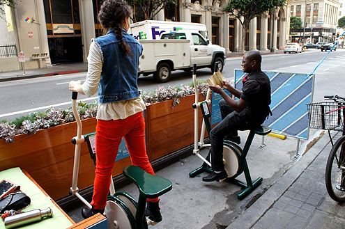 The exercise equipment is a fun way to interact with the new parklet