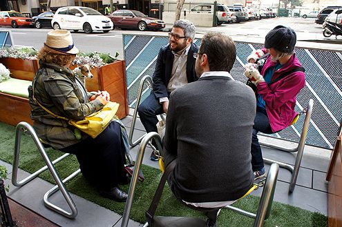 The new parklets downtown expand the realm of public space, taking over a metered parking spot and replacing it with more seating for example