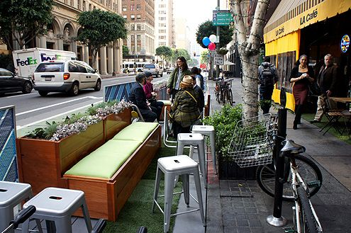 Another view of the parklet and the seating available