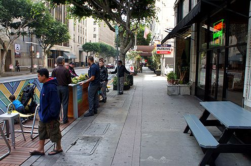 The new parklets widen the public realm along Spring Street
