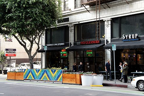 An angled view of the new parklet near 6th and Spring