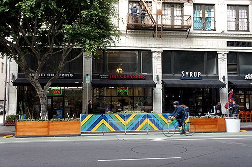 This parklet near 6th and Spring has replaced two metered parking spots