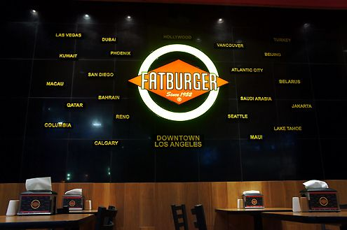 Fatburger locations worldwide including Beijing, Dubai, and Jakarta