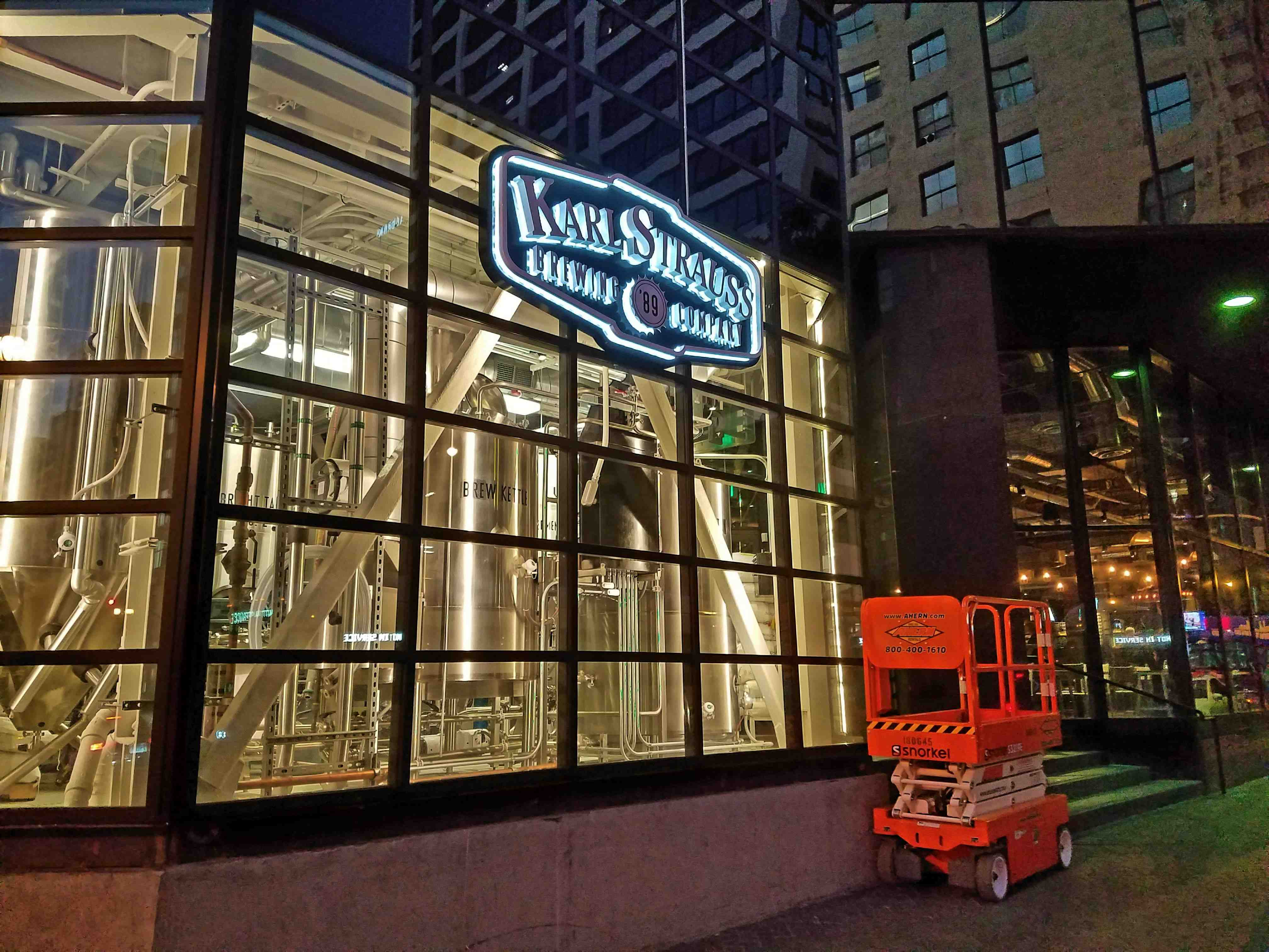 Karl Strauss has opened a massive 13,500 SF brewery here in Downtown LA's Financial District